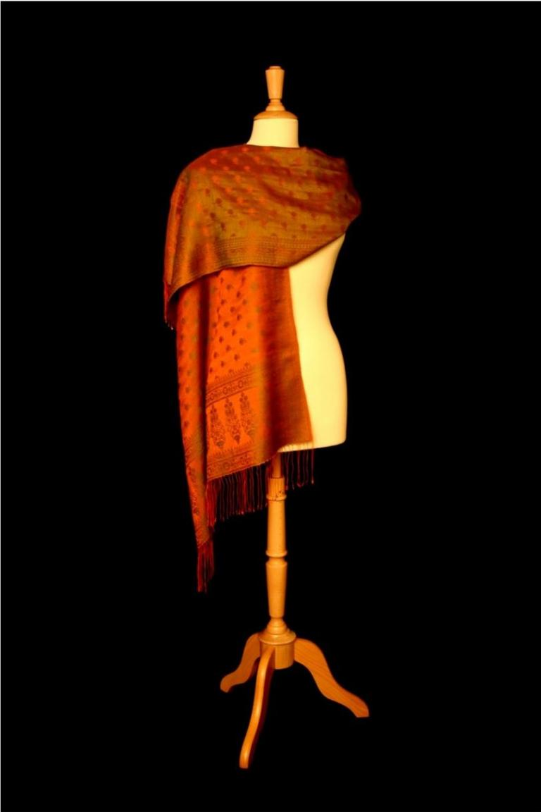 Rose Jacquard Stole - Orange / Grün